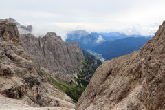 Sexten Dolomites mountain panorama with lake Lago di Auronzo at Via Ferrata Severino Casara in South Tyrol Royalty Free Stock Photo