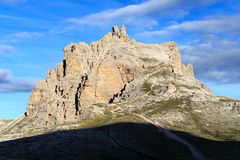 Sexten Dolomites mountain Paternkofel and footpath in South Tyrol Royalty Free Stock Images
