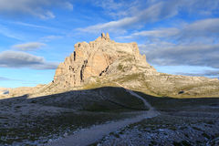 Sexten Dolomites mountain Paternkofel and footpath in South Tyrol Stock Photo