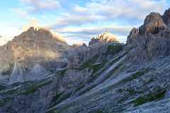Sexten Dolomites mountain Paternkofel and footpath in South Tyrol Stock Image
