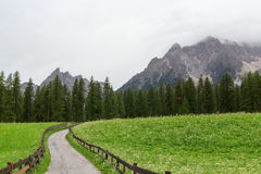 Sexten Dolomites mountains and footpath in South Tyrol Stock Photo