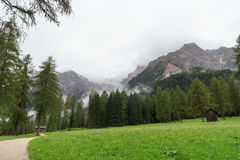 Sexten Dolomites mountains and footpath in South Tyrol Royalty Free Stock Images