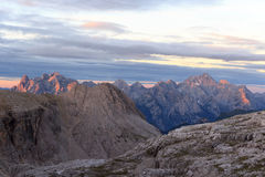Sexten Dolomites mountains panorama with Alpenglow at sunrise in South Tyrol. Italy Stock Photography