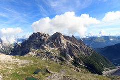 Sexten Dolomites panorama and mountain Dreischusterspitze in South Tyrol Royalty Free Stock Images
