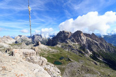 Sexten Dolomites panorama and mountain Dreischusterspitze in South Tyrol Stock Photos