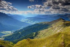 Sextental and Pustertal valleys in sunny summer afternoon Italy stock photo