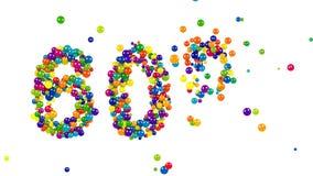 60 sextio procent färgrika symbol i regnbågefärger vektor illustrationer