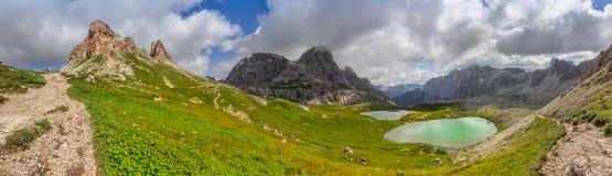Sextner-Stein in den Dolomit-Bergen Stockfotos
