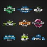 Sexto vetor ajustado do emblema do equalizador da música na obscuridade Imagem de Stock Royalty Free