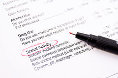 Sexual activity - medical form Royalty Free Stock Photos