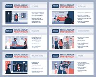 Sexual assault prevention for women and safety tips. Sexual assault and harassment prevention for women and safety tips, vector infographic royalty free illustration