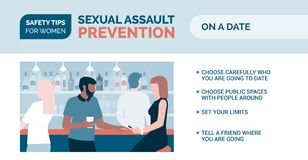 Sexual assault prevention: how to be safe on a date. Sexual assault prevention and self defense tips for women: how to be safe on a date vector illustration