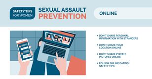 Sexual assault prevention: how to be safe online. Sexual assault prevention and self defense tips for women: how to be safe online stock illustration