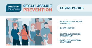 Sexual assault prevention: how to be safe during parties. Sexual assault prevention and self defense tips for women: how to be safe during parties vector illustration