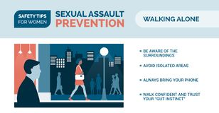 Sexual assault prevention: how to be safe when walking alone. Sexual assault prevention and self defense tips for women: how to be safe when walking alone vector illustration