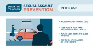 Sexual assault prevention: how to be safe in a car. Sexual assault prevention and self defense tips for women: how to be safe while driving stock illustration