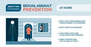 Sexual assault prevention: how to be safe at home. Sexual assault prevention and self defense tips for women: how to be safe at home vector illustration
