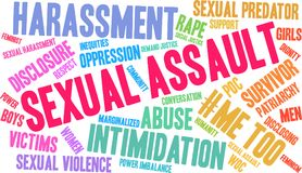 Sexual Assault Word Cloud. On a white background Stock Photo