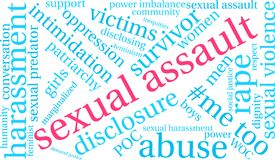Sexual Assault Word Cloud. On a white background Stock Photos