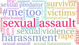 Sexual Assault Word Cloud. On a white background Stock Image