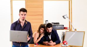 Sexual attraction. Stimulate sexual desire. Sexual attention. Making career in male club office. Woman working in mostly. Male workplace. Woman attractive stock photography