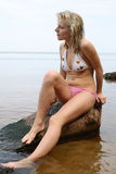 The sexual blonde in a bathing suit. Royalty Free Stock Photos