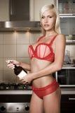 The sexual blonde in underwear Stock Photos