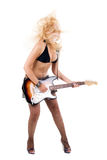 Sexual blonde and a white bass guitar Stock Photos
