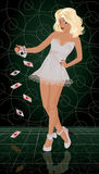 Sexual blonde woman with poker cards Royalty Free Stock Photography