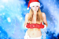 Sexual christmas girl Stock Photos