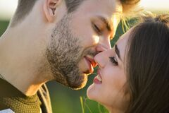 Sexual energy. Sexy couple in love. Girl and handsome man kissing. Seduction and foreplay. Sensual kiss. Kiss close up