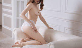 Sexual female standing on knees over the sofa Stock Images