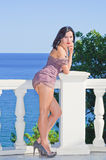 Sexual girl in an evening dress Royalty Free Stock Photography