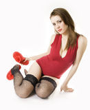 Sexual girl hold its hand Slipper Royalty Free Stock Image