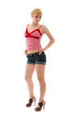 Sexual girl in jeans shorts and red top Royalty Free Stock Photos