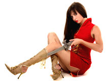 Sexual girl with sword Royalty Free Stock Image