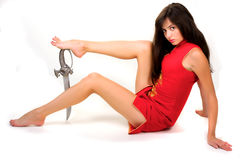 Sexual girl with sword Stock Photography