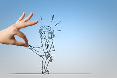 Sexual harassment. Caricature of scared woman attacked by boss Royalty Free Stock Photos
