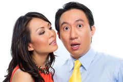 Sexual harassment by Chinese woman in office Stock Photos