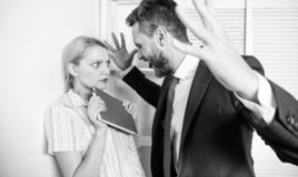 Sexual harassment between colleagues and flirting in office. Sexual harassment at work. Me too social movement. royalty free stock photo