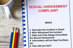 Sexual harassment complaints. Topics on the cover page of a lecture Stock Images