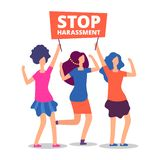 Sexual harassment concept. Stop abuse female demonstrations. On white. Vector illustration vector illustration