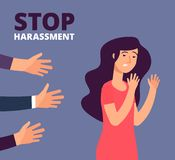 Sexual harassment concept. Woman and mans hands. Stop abuse, against violence vector background. Stop harassment and abuse, no sexual violence illustration royalty free illustration