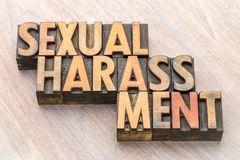 Sexual harassment word abstract in wood type. Sexual harassment word abstract in vintage letterpress wood type stock images
