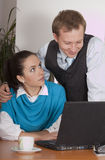 Sexual harassment by the work. Man hassling woman in the office stock photos