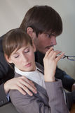Sexual harassment by work. Office scene - sexual harassment by the work Royalty Free Stock Image