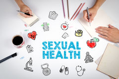 Sexual Health concept. Healty lifestyle background. The meeting at the white office table Stock Images