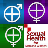 Sexual Health Four Blocks. Conceptual image for sexual health with related symbols Stock Photography