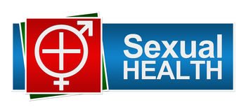 Sexual Health Red Green Blue Banner. Sexual Health Symbol in White with Medical Cross and Male female symbol vector illustration