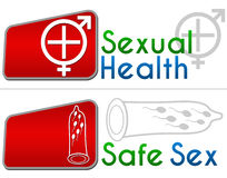 Sexual Health Safe Sex. Mens Health and Womens health concept image with symbol and text Stock Images
